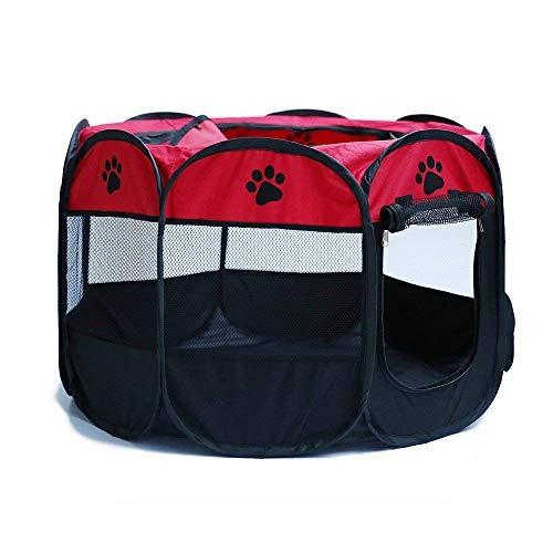 KKCF Perrera Plegable portátil para Ejercicio, para Perro, Gato, Jaula de Juegos – Uso Interior y Exterior, Rojo, Large