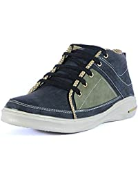LEVE S Men's Leather Black Lace Up Casual Sneaker Shoe