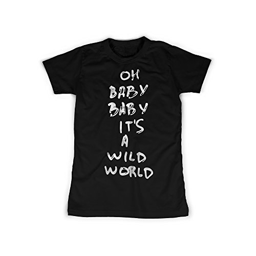 licaso Frauen T-Shirt mit Aufdruck in Schwarz Gr. XXL Wild World Baby Song Design Girl Top Mädchen Shirt Damen Basic 100% Baumwolle Kurzarm