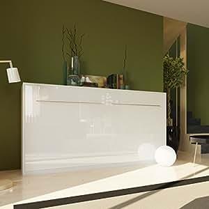 smartbett armoire lit escamotable horizontalement 90 cm blanc lit pliant lit mural sans. Black Bedroom Furniture Sets. Home Design Ideas
