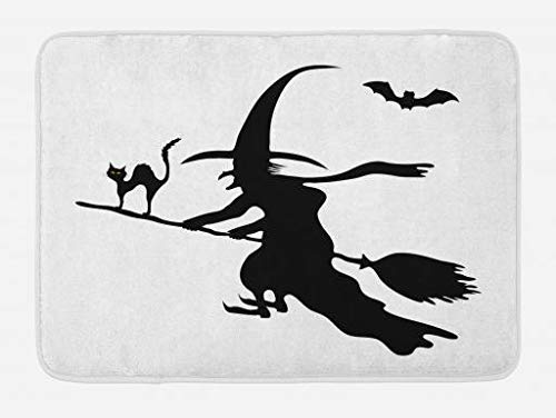 Witch Bath Mat, Abstract Monochrome Halloween Composition with Flying Old Lady Scary Cat and Bat, Plush Bathroom Decor Mat with Non Slip Backing, 23.6 W X 15.7 W Inches, Black White Old Flying Machine