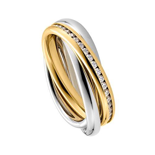 Heideman Ring Damen Trini aus Edelstahl Gold farbend matt Damenring für Frauen Rollring Spielring Dreierring 3er