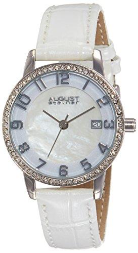 August Steiner da donna in argento e madreperla, cinturino in pelle, con orologio, colore: bianco