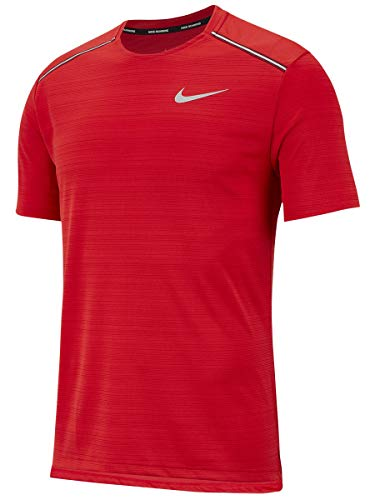 Nike Herren M NK Dry Miler TOP SS T-Shirt, University red/Reflective silv, XL -