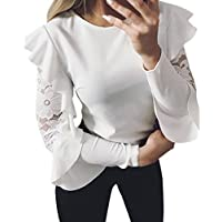 Camisetas de Encaje Mujer, LILICAT® Blusas Tops con Volantes 2018 Moda Elegante de manga larga O-cuello, Camisas mujer de vestir fiesta (L, �� Blanco)