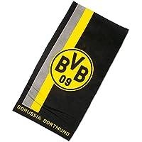 Serviette de plage avec logo de BVB dans le motif rayures Taille unique
