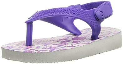Havaianas Girls' Baby Pets Sandal, White/Purple, 17/18 BR/4 M US Infant