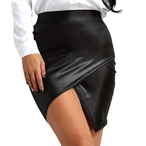 iixpin Damen Minirock Kurz Rock Wetlook High Waist Skirt Faux Leather Skirt Damenrock in Leder Optik glänzend Figurbetont Rock Gr. S-XL Schwarz Medium -