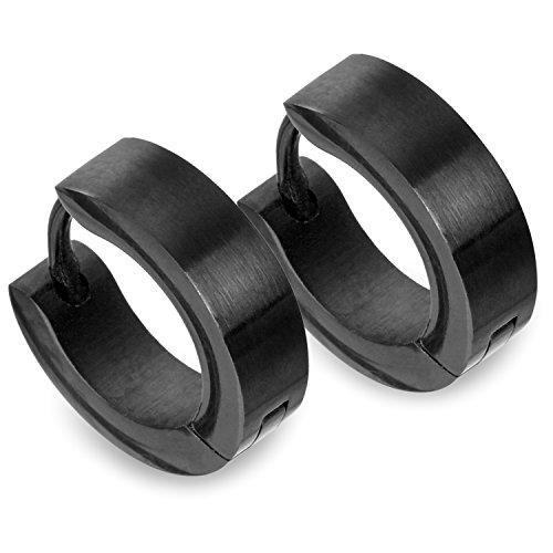 TED COLLINS 2 klassische schwarze Creolen Ohrringe aus Edelstahl, 4mm breit – 2 Jahre Geld-zurück-Garantie - Ohrhänger, Edelstahl-Creolen, Ohrstecker, Kreolen – Klassischer Schmuck für jeden Anlass Test