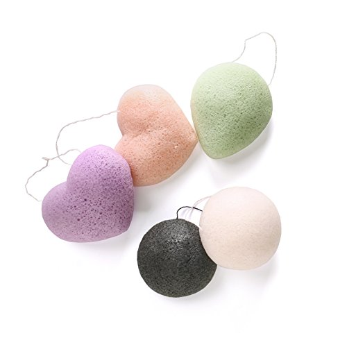 Spugna konjac–3o 5pezzi 100% puro naturale extra morbido konjac sponge puff per la pulizia del viso e corpo delicata pelle sensibile, anche per neonati