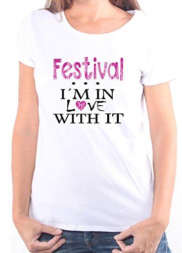 Mister Merchandise Ladies Damen Frauen T-Shirt Festival - I´m in love Tee Mädchen bedruckt Weiß