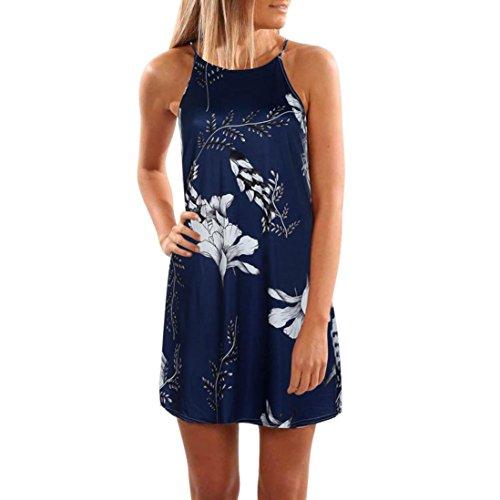 WOCACHI Damen Sommer Kleider Mode Frauen Sommer Ärmellos O-Neck Elegante weiße Blume Gedruckt Strand Camisole Kleid Mini Kurzes Dunkelblau Kleider Dunkelblau