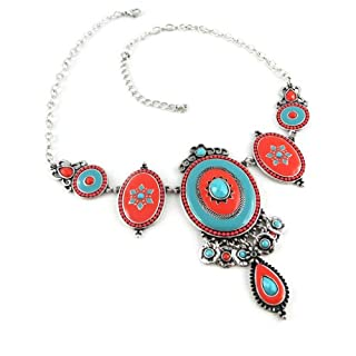 Necklace 'french touch' 'Altai'red turquoise.
