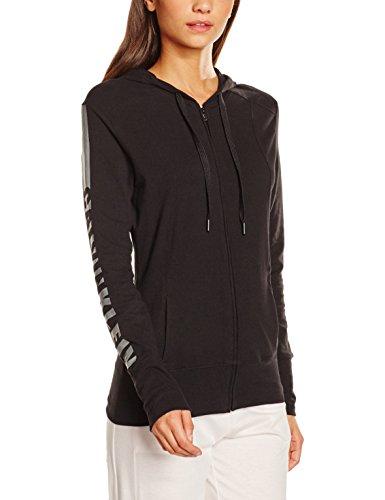 Calvin Klein Damen Kapuzenpullover Top Hoodie W/Zip, Schwarz (Black (Soothing Grey Logo) 001), 34 (Herstellergröße: XS) (Sport Klein Brief Calvin)