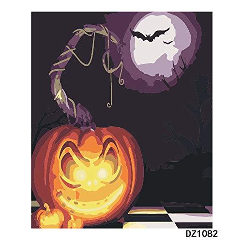 Dnesdanas DIY Malen Nach Zahlen Ölfarbe Leinwand Für Kinder Erwachsene Anfänger Dekoration Halloween Kürbis Licht 40x50cm (Den Sie Kürbis Für Halloween Malen)