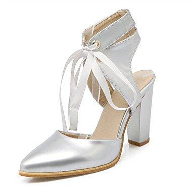 LFNLYX Les talons des femmes Printemps Été Automne Nouveauté confort en cuir de brevet matériaux sur mesure robe de soirée partie & décontracté Talon Silver