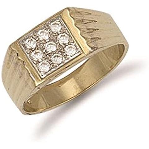 Hallmarked 9ct oro amarillo tapa cuadrada caballeros Zirconia cúbico anillo