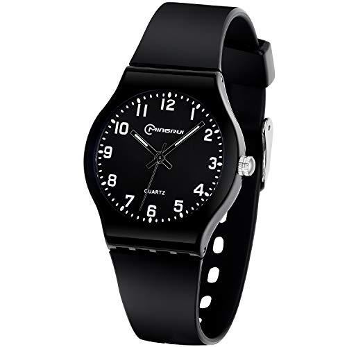 Kinderuhr Mädchen Jungen,Analoge Armbanduhr wasserdichte Quarzuhr Leicht zu erlernende Zeituhren für Kinder Alter 6-15 (Schwarz)