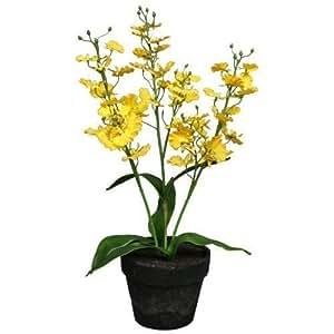 Piante sintetiche Orchidea Oncidium giallo 45 cm im Pentola artificiale Decorazione Pianta Impianti tessili Orchidea di arte