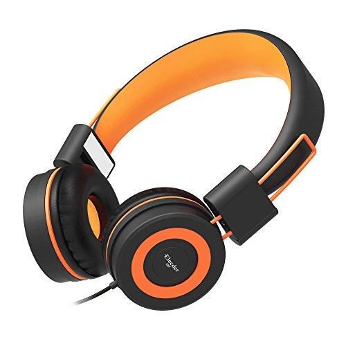 Elecder i37 Kinder Kopfhörer für Kinder, Mädchen, Jungen, Erwachsene, Faltbare verstellbare Ohrhörer mit 3,5-mm-Buchse für iPad-Handys Computer MP3 / 4 Kindle School, Schwarz/Orange 3,5-mm-ohrhörer