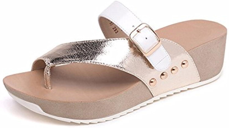 YMFIE Zapatillas de Moda Casual para Mujer en Verano con Zapatillas y Sandalias Antideslizantes de Fondo Grueso...