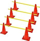 Rhinos Sports Obstacle à douille Set de 8Multifonction Cône (30cm) avec 4barres d'entraînement (1m)
