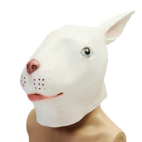 ke gruselig Tier Halloween Kostüm Theater Prop Party Cosplay Deluxe Latex - 1 (Deluxe Kaninchen Maske)