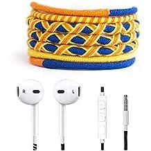 Crossloop Designer Series 3.5mm Universal In-Ear Headphones With Mic And Volume Control (Pumpkin Orange, Yellow & Dark Blue)