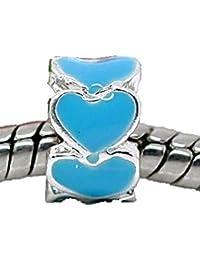 Charm Buddy azul espaciador de corazones encanto para plata pulseras estilo Pandora encantos venta joyas