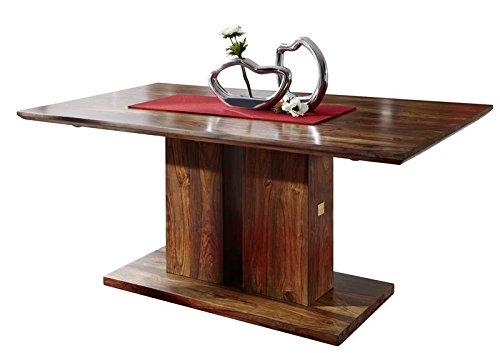 MASSIVMOEBEL24.DE Palisander Holz Möbel massiv lackiert Säulentisch 160x90 Sheesham Massivmöbel...