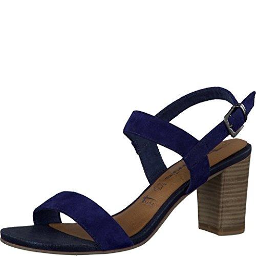 Tamaris Schuhe 1-1-28321-28 bequeme Damen Sandalette, Sandalen, Sommerschuhe für modebewusste Frau, blau (BLUE), EU 41