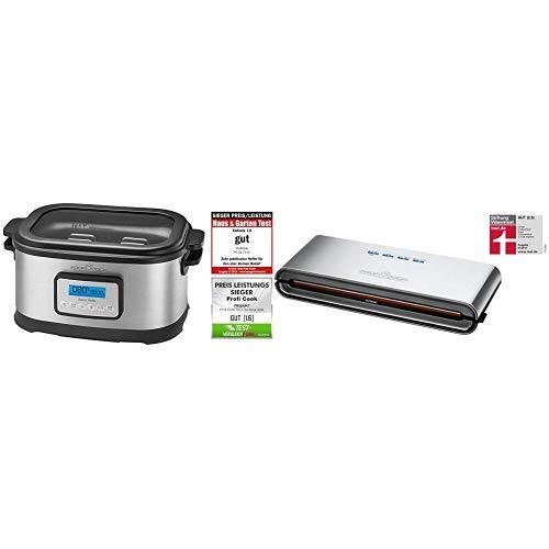 Profi Cook SV-1112 ProfiCook Sous Vide-Schongarer Topf und Vakuum für Küche Kochen bei niedrigen Temperaturen, 8,5l, 520W, grau/schwarz, 8.5 liters & ProfiCook PC-VK 1080 Edelstahl-Vakuumiergerät
