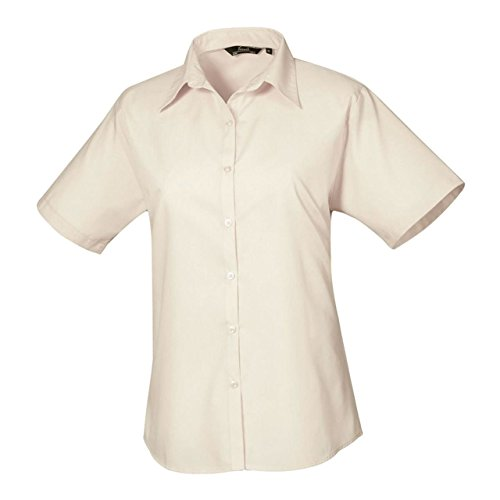 Premier Damen Blouse Short Sleeve Poplin Fitted Office Workwear Business Shirt Braun - Natural