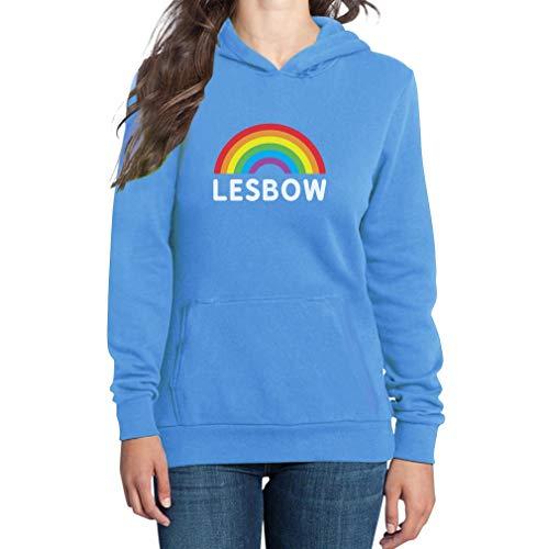 ow - Regenbogen Flagge Gay Pride Damen Kapuzenpullover Hoodie X-Large California blau ()