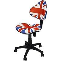 La Silla Española - Silla de estudio juvenil con respaldo y asiento decorados con los colores de la bandera de Reino Unido y base de nylon con ruedas ...