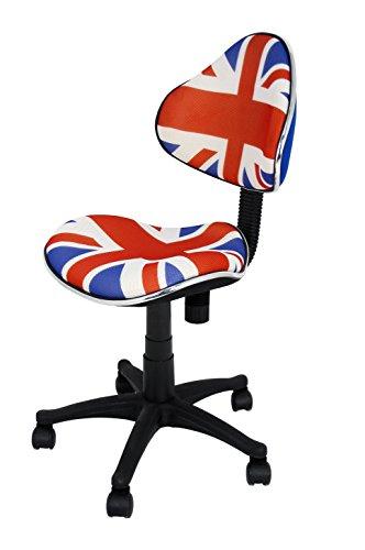 La Silla Española - Silla de estudio juvenil con respaldo y asiento decorados con los colores de la bandera de Reino Unido y base de nylon con ruedas deslizantes, serie Mundial, 43x43x95 cm