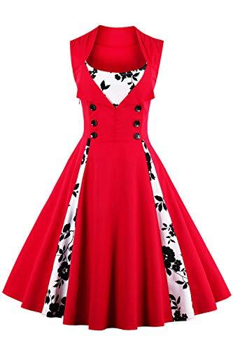 Axoe Damen 50er Jahre Cocktailkleid Rockabilly Elegantes Faltenrock Festliches Partykleider Vintage Kleid Audrey Hepburn Abendkleider mit Polka Dots Knielang, Rot-blumen, 2XL (46 EU)