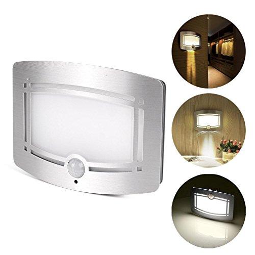 LED Infrarot Körpersensor Licht,Jaminy Drahtlose LED Wand Nachtlicht Lampe Leuchter moderner Bewegungs Sensor Batterie für Haupt automatische Abfragung Für Korridore, Werkstätten, Keller, innen (Silber) (Mit Bewegungs-sensor Blitzlicht)