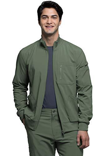 Cherokee Infinity Men's Zip Front Warm-Up Solid Scrub Jacket Cherokee Warm-up
