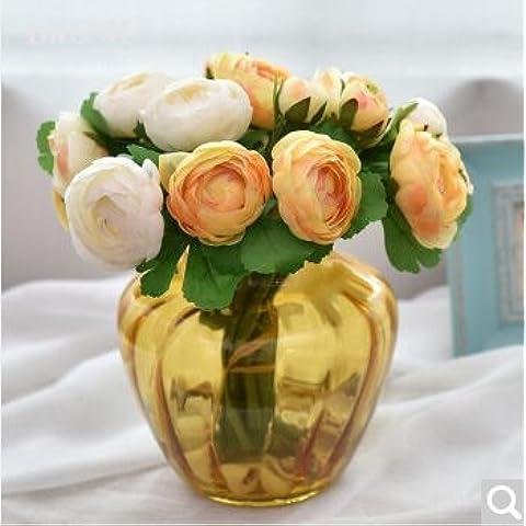 SDN2-generale fiore di emulazione goffrato vasi di vetro di fiori di seta fiori freschi di (Goffrato Roses Bouquet)