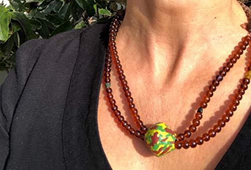 Ethnos Barcelona - Doppelt braune Kristalle zurück Halskette mit mehrfarbigem Glas Herzstück. (Herzstück Kristalle)
