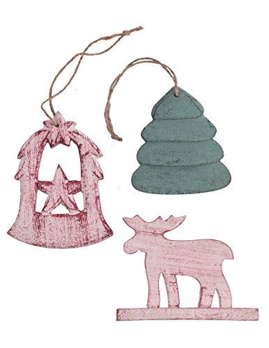 Store Indya, Albero sospeso decorazione, Set di 3 Decorazioni di con le renne, Angeli e Albero Motif per la decorazione domestica, Muro Albero Hanging e regalo Decorazioni di Natale
