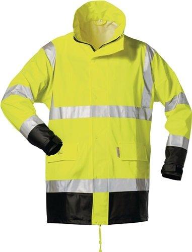 Feldtmann Warnschutz PU Regenjacke Manfred EN ISO 20471/3, EN 343/3 Gr. XL gelb/schwarz -