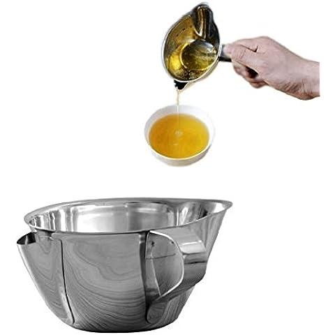dewel utensili da cucina cottura olio grasso Trappola Filtro in acciaio inox olio filtro separatore di grassi ciotola con manico e bocca separati Oliatore