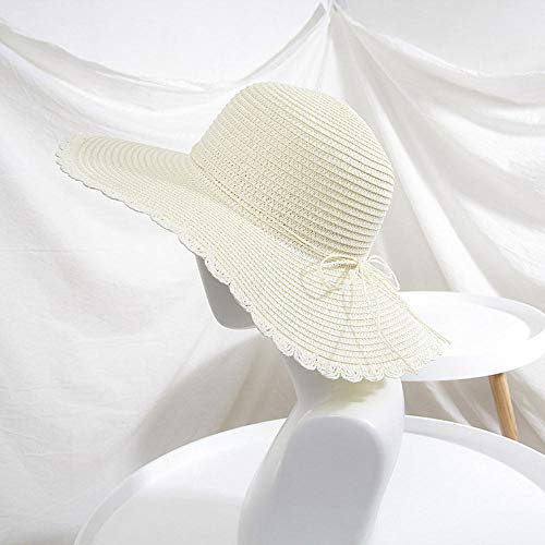 Grtodnz Sun Hat Womens Sommer Perle Bogen Wellenrand Strohhut Outdoor Travel Beach Hut,7