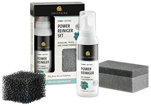 Solitaire Power Reiniger Set - Reinigung, Pflege und Schutz für alle Materialien - bestehend aus einem Power Reiniger (125ml) mit Tropic-Duft, 1 x Rauleder-Meshschwamm und 1 x Reinigungsschwamm
