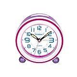 SOCICO Enfants Réveils, Réveil Classique Réveils Enfants Réveils Analogiques Réveil Silencieux avec Mains Luminescentes Veilleuse pour Garçons Filles et Bébés (Violet)
