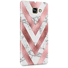 White Marble & Rose Gold Chevron Hard Thin Plastic Phone Case Cover For Samsung Galaxy A5 2016