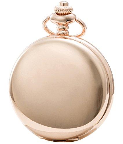 Sewor Modische Quarz-Taschenuhr mit doppelter Kette aus Metall und Leder, glatte Oberfläche, Muschel-Zifferblatt, japanisches Quarzuhrwerk ... (Roségold)