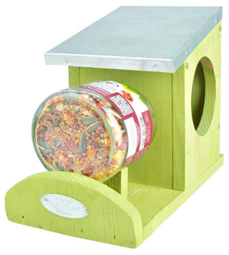 Another great feeder is the Fallen Fruits Squirrel Jar Feeder. It is mainly used for holding a jar filled with a mix of squirrel food, but it can also work on other large foods and fruits.